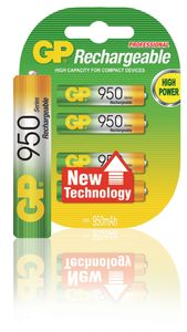 GP NIMH RECHARGEABLE AAA MICRO PENLITE (1000 SERIES), BLISTER OF 4