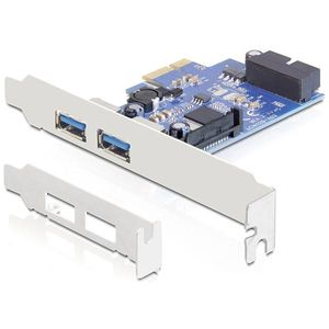 DeLOCK PCI-Express x1 kortti, 2xUSB A na, 19-Pin USB3.0, LP bracket