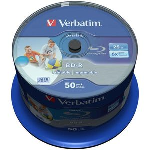 Verbatim BD-R, 6x, 25GB/200tim, Wide Inkjet Printable, 50-p spindel