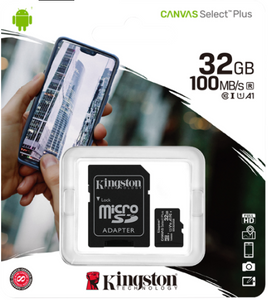 Kingston MicroSD 32GB Canvas Select Plus, 100MB/s read, Class 10
