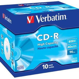 Verbatim CD-R, 40x, 800 MB/90 min, 10-pakkaus, jewel case