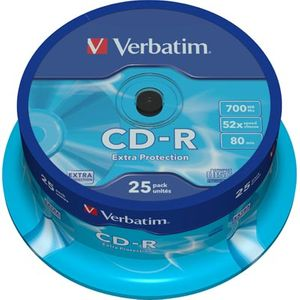 Verbatim CD-R, 52x, 700 MB/80 min, 25-pakkaus, spindle
