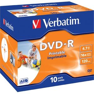 Verbatim DVD-R, 16x, 4,7 GB/120 min, 10-pakkaus, jewel case, printable