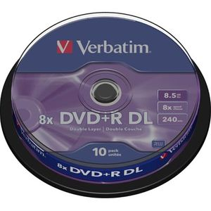 Verbatim DVD+R DL, 8x, 8,5 GB/240 min, 10-pakkaus spindle, AZO