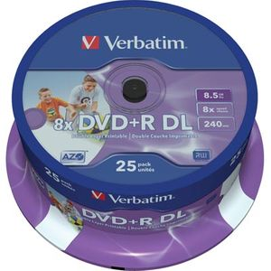 Verbatim DVD+R DL, 8x, 8,5 GB/240 min, 25-pakkaus spindle, AZO